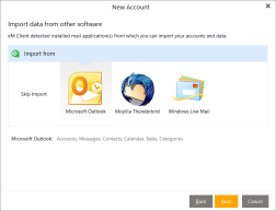 Import data to the new account